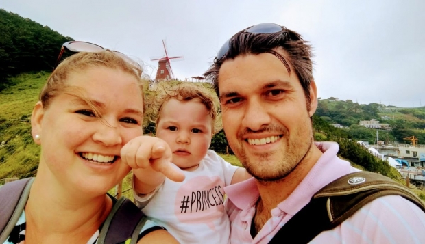 Roselien met haar gezin in Zuid-Korea