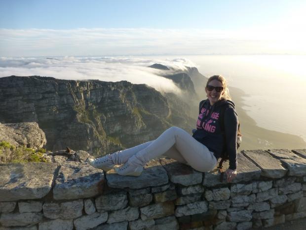 Karin op de Tafelberg Zuid-Afrika