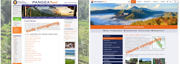 oude vs nieuwe website pangea travel